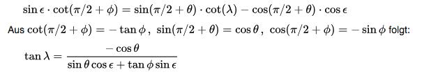 Formel zur Berechnung des Aszendent im Horoskops